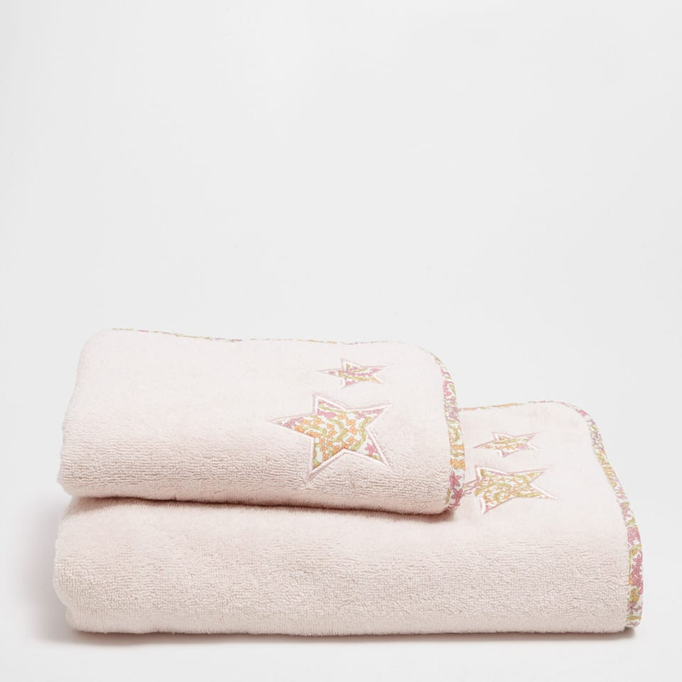 Multicoloured embroidered appliqué cotton towel