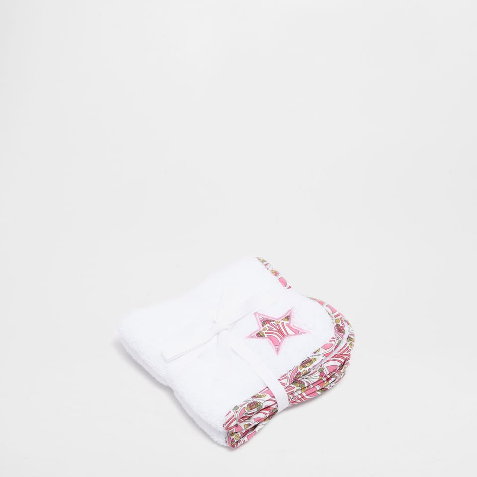 Embroidered cotton towel set with multicoloured appliqué