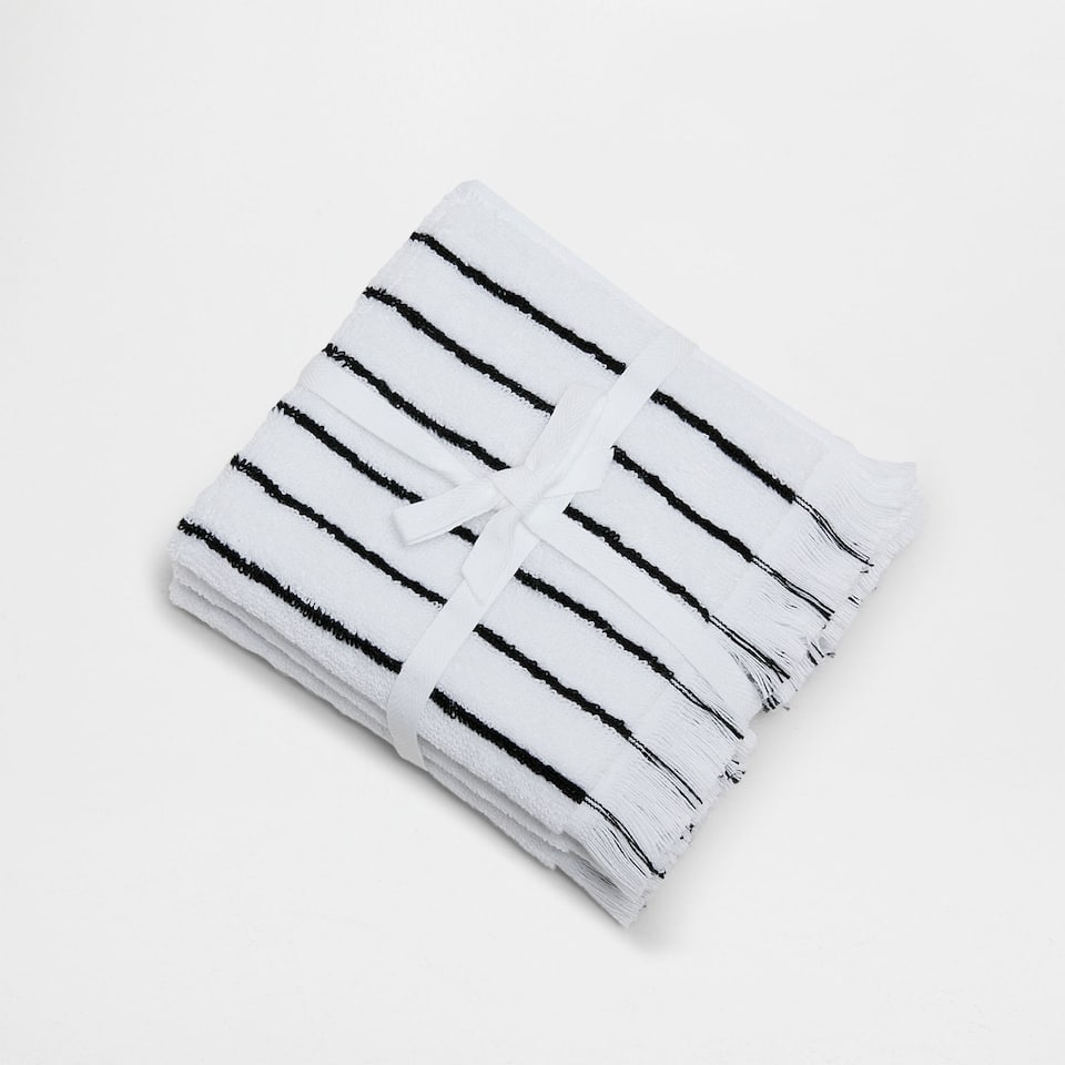 COTTON TOWEL WITH STRIPES AND FRINGES (SET OF 3)