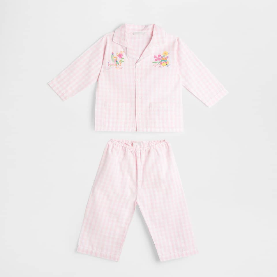 Floral embroidered gingham check pyjamas