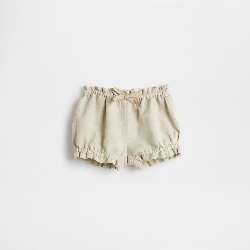 Gathered linen trousers