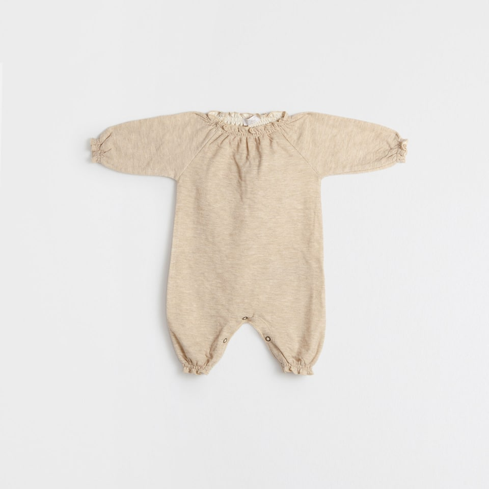 Gathered flecked romper suit