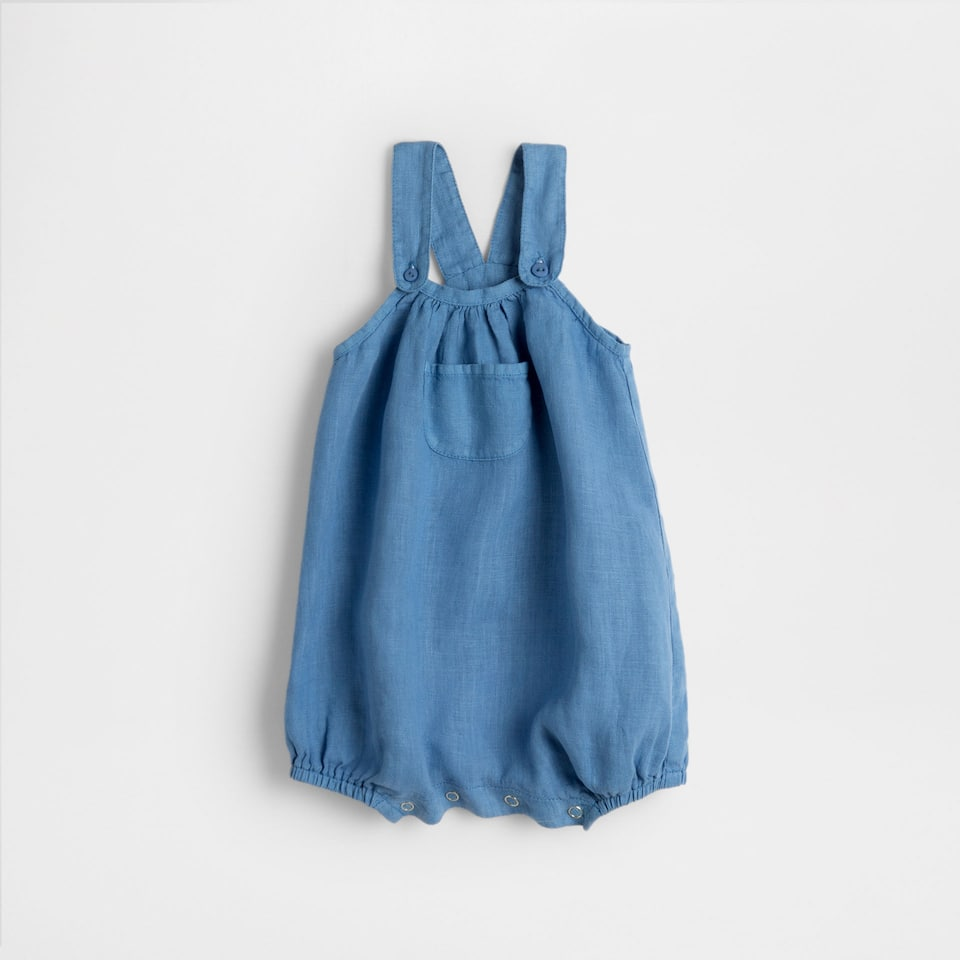 Blue linen dungarees with pocket