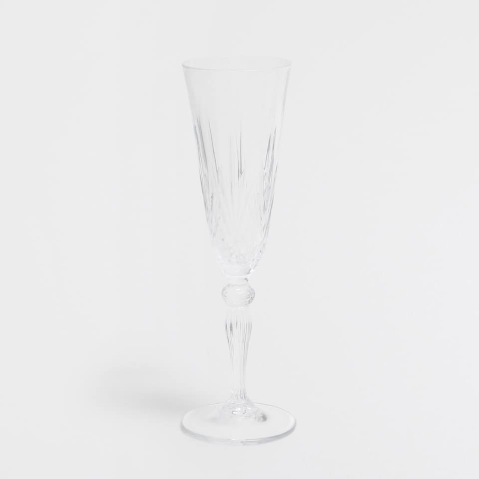 Engraved glass champagne flute
