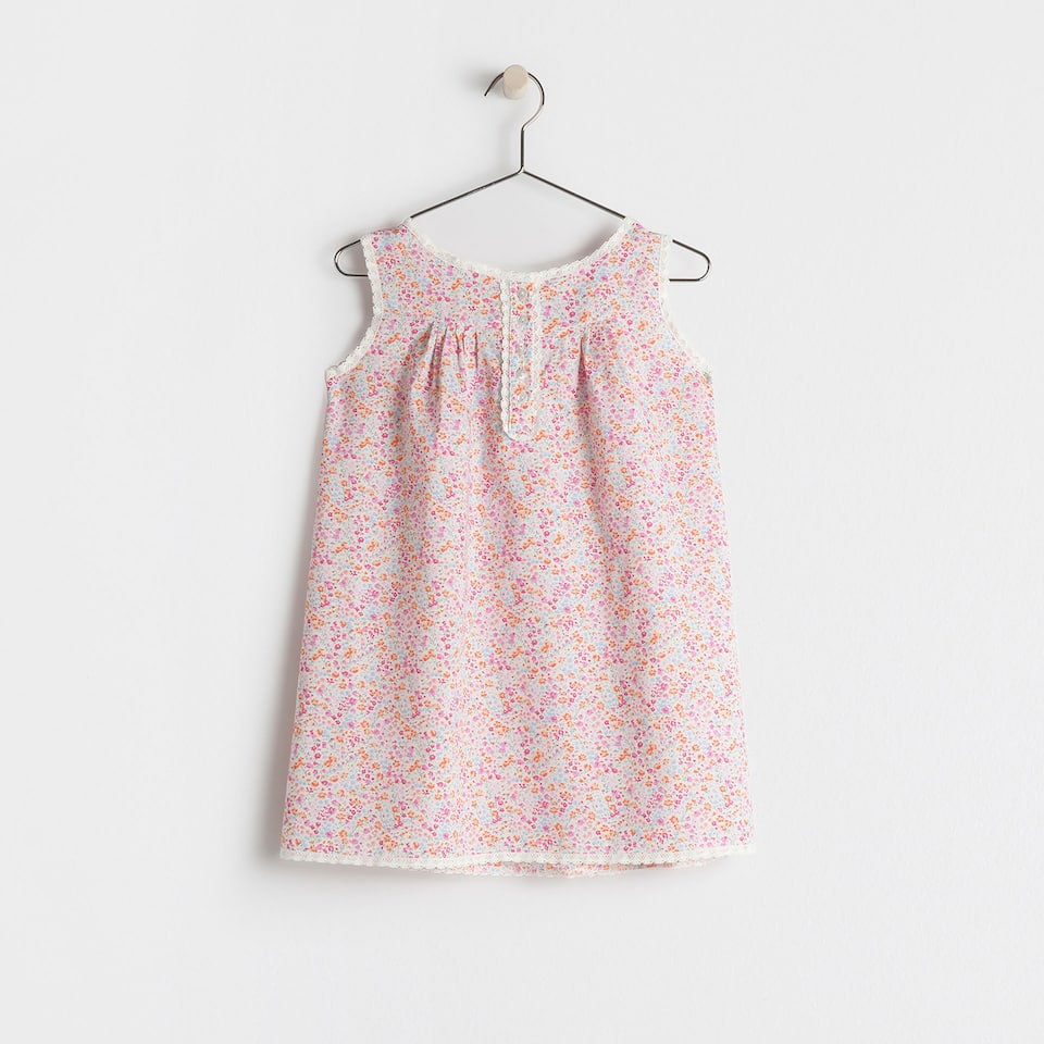 Pink cotton printed nightdress
