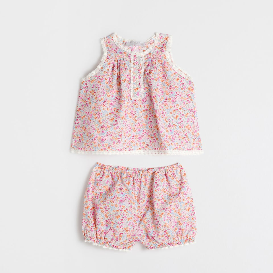 Pink cotton printed baby set