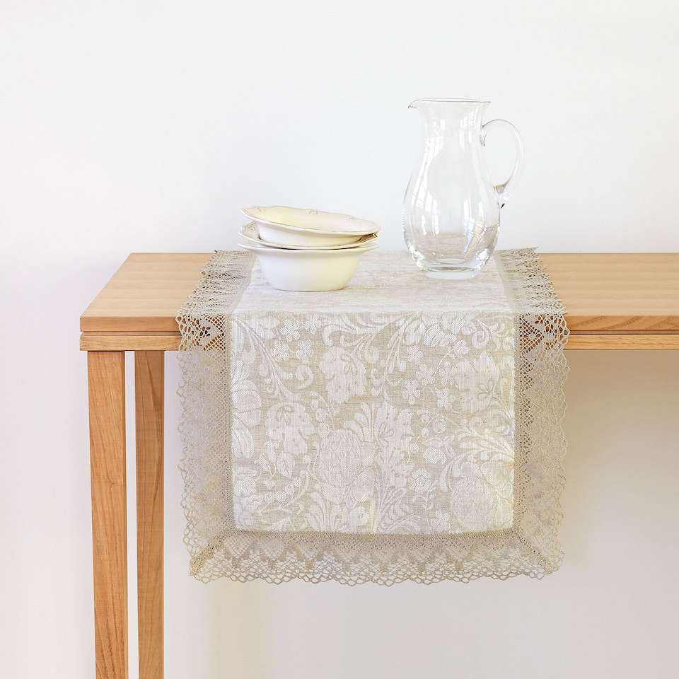 Jacquard Linen Table Runner with Lace Trim
