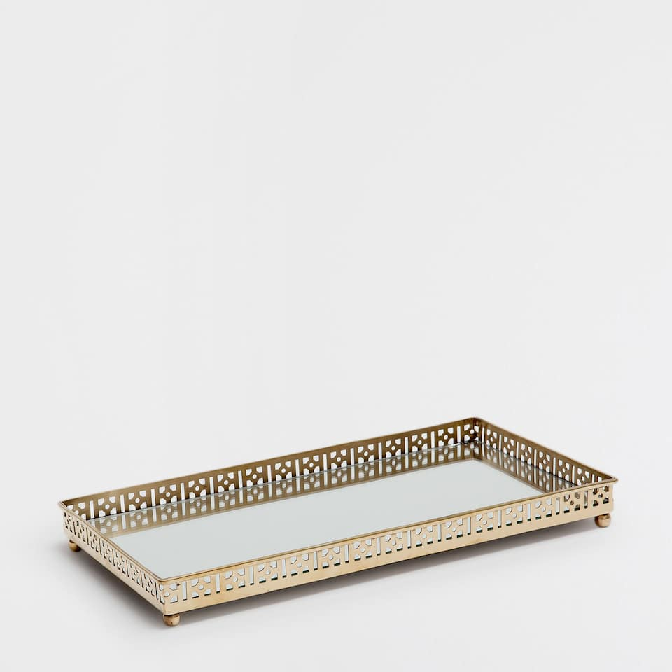 Rectangular mirrored metal tray