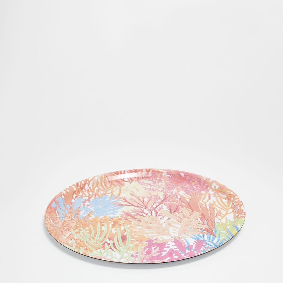 Round coral print tray