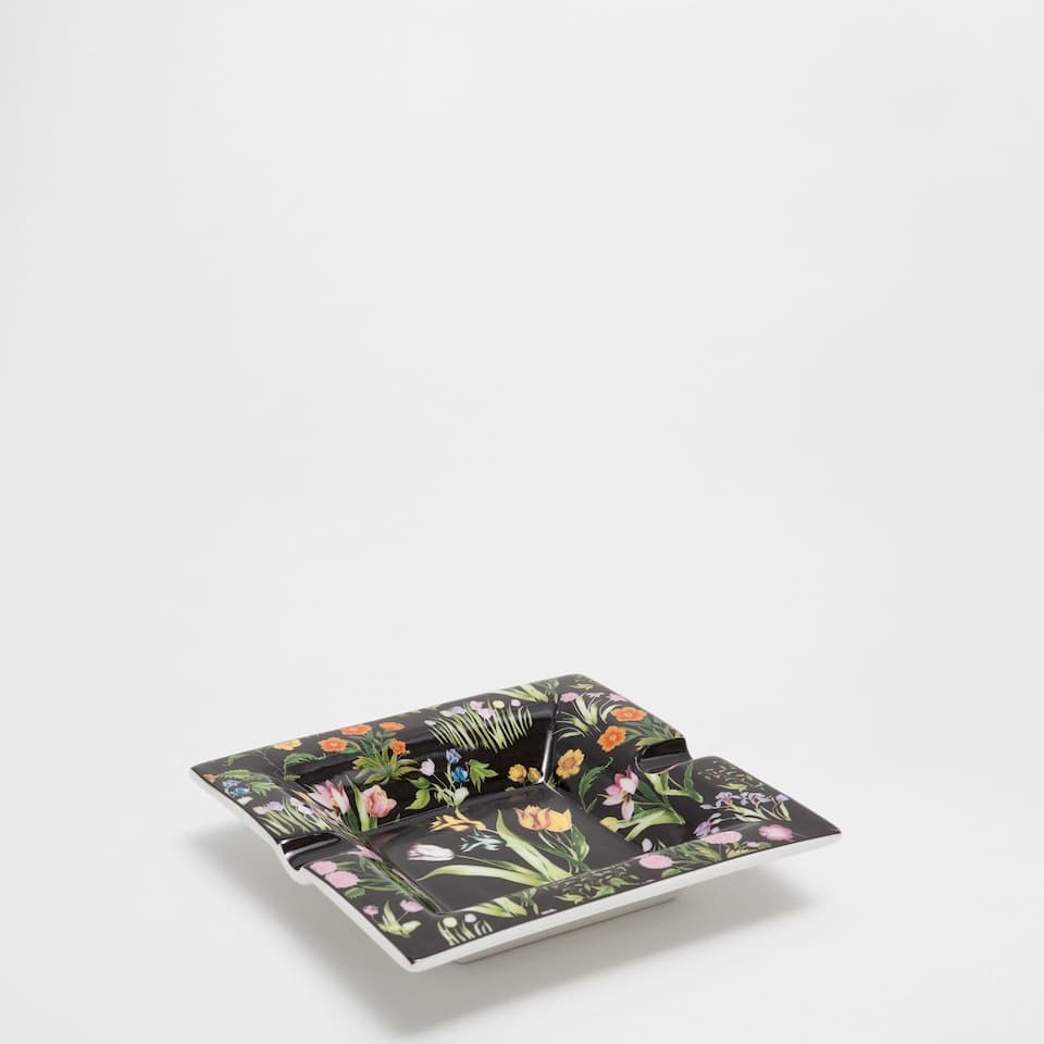 Square floral transfer ashtray