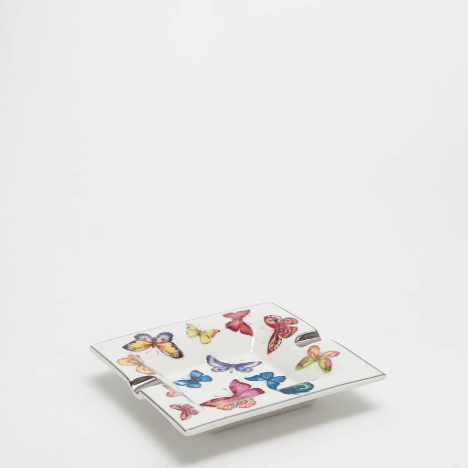 Multicoloured butterfly print ashtray