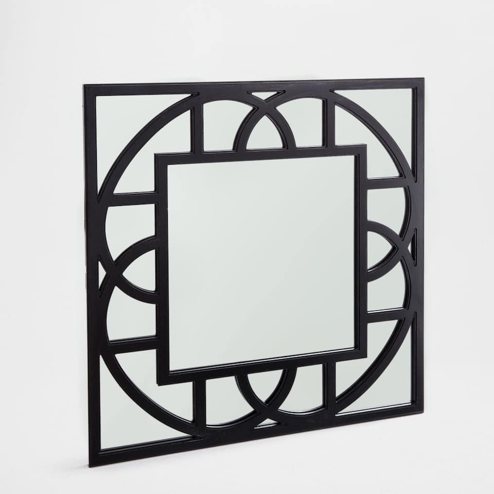 Square mirror with geometric shapes