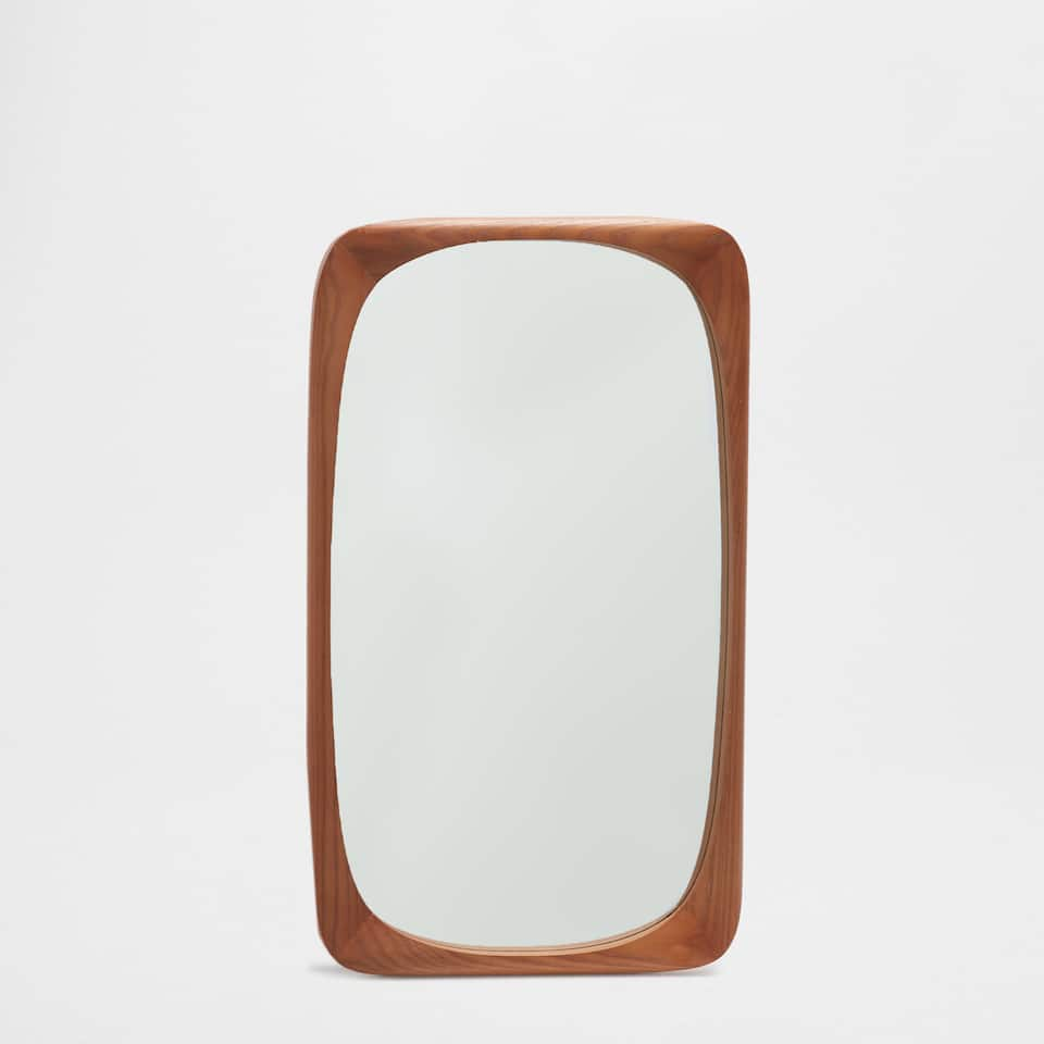 Natural-coloured irregular rectangular mirror