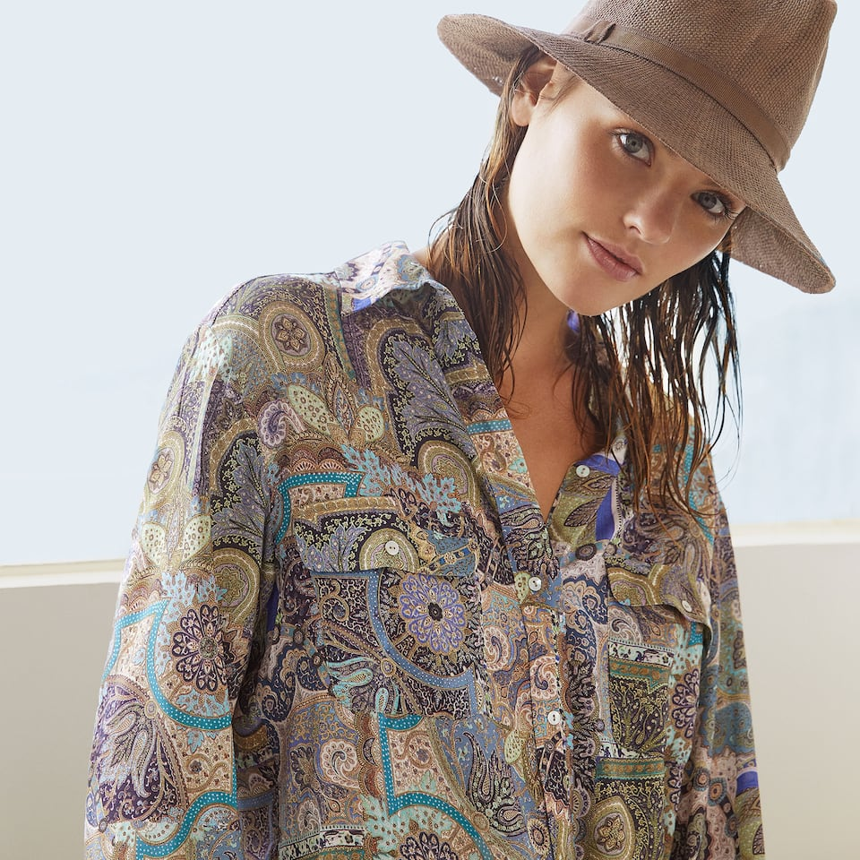 Paisley button up tunic in blue tones