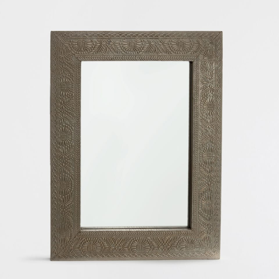 Rectangular embossed metal mirror