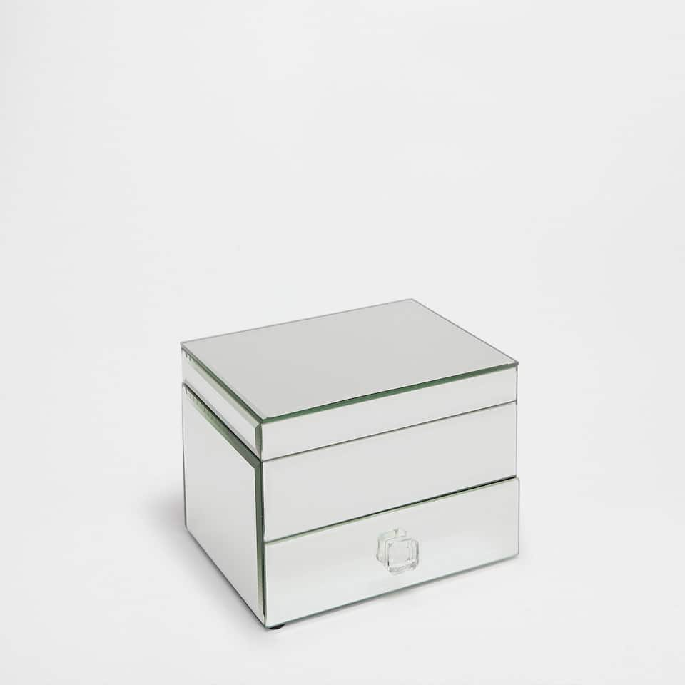 Mirrored jewellery box with a drawer and lid