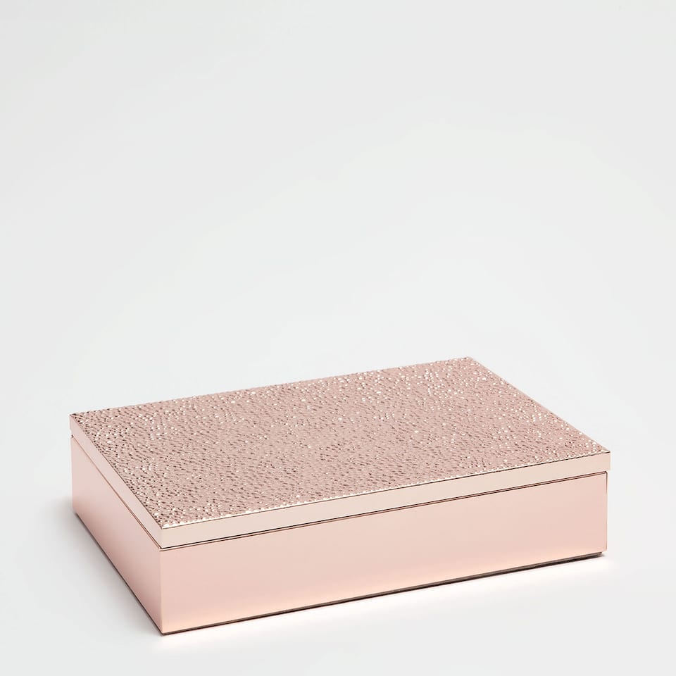 Pink metallic box with raised dots