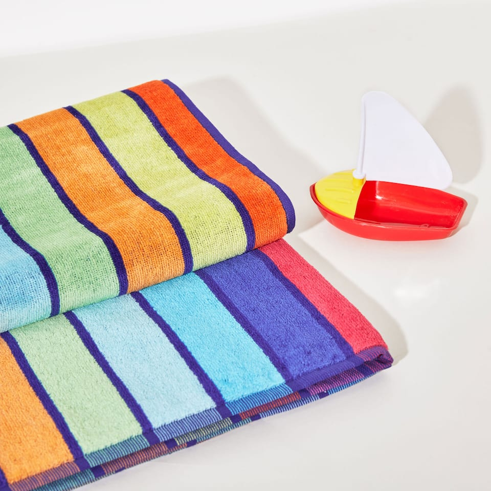 Multicoloured stripes cotton towel