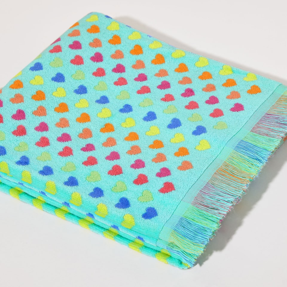 Multicoloured hearts towel