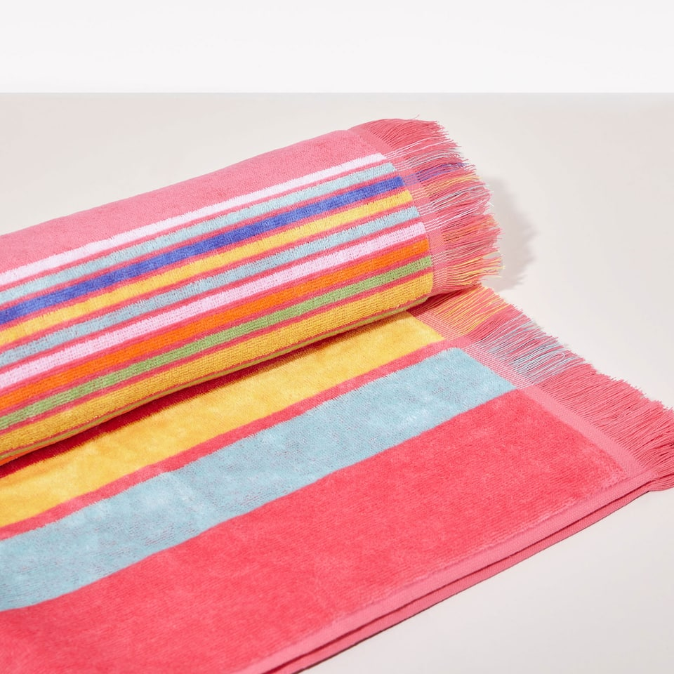 Striped print cotton towel