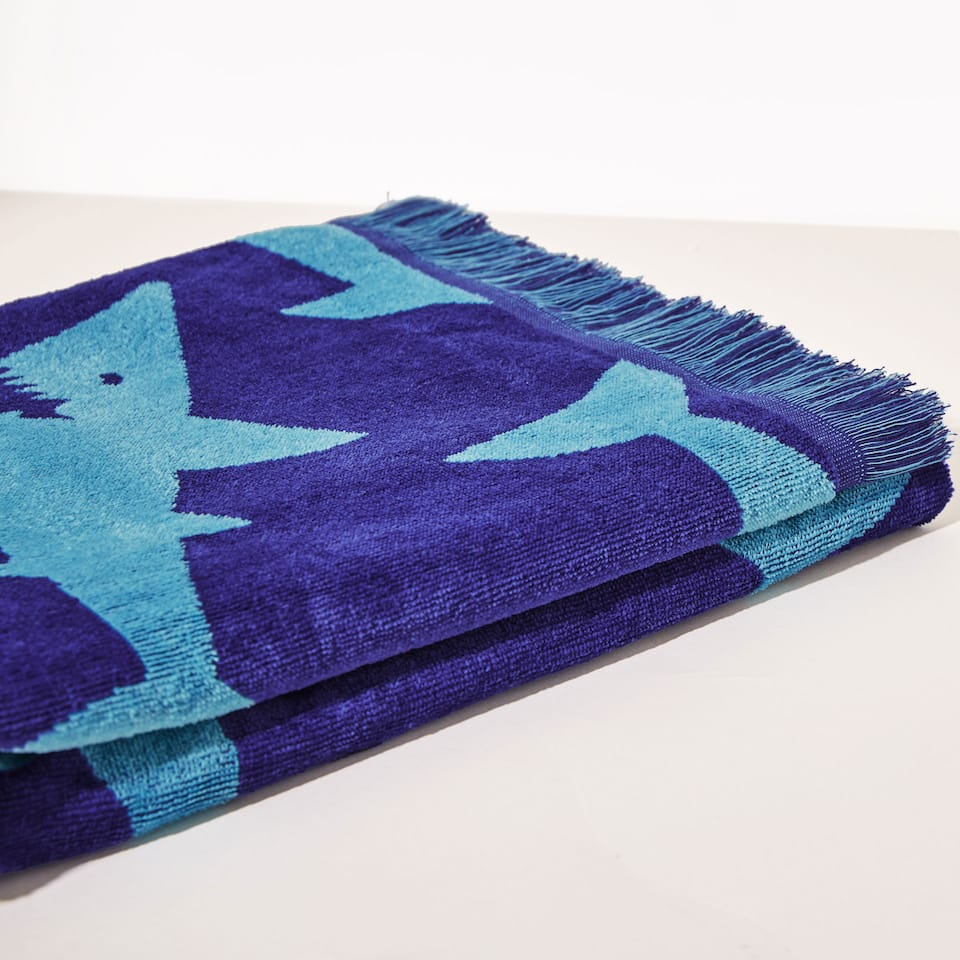 Shark print cotton towel