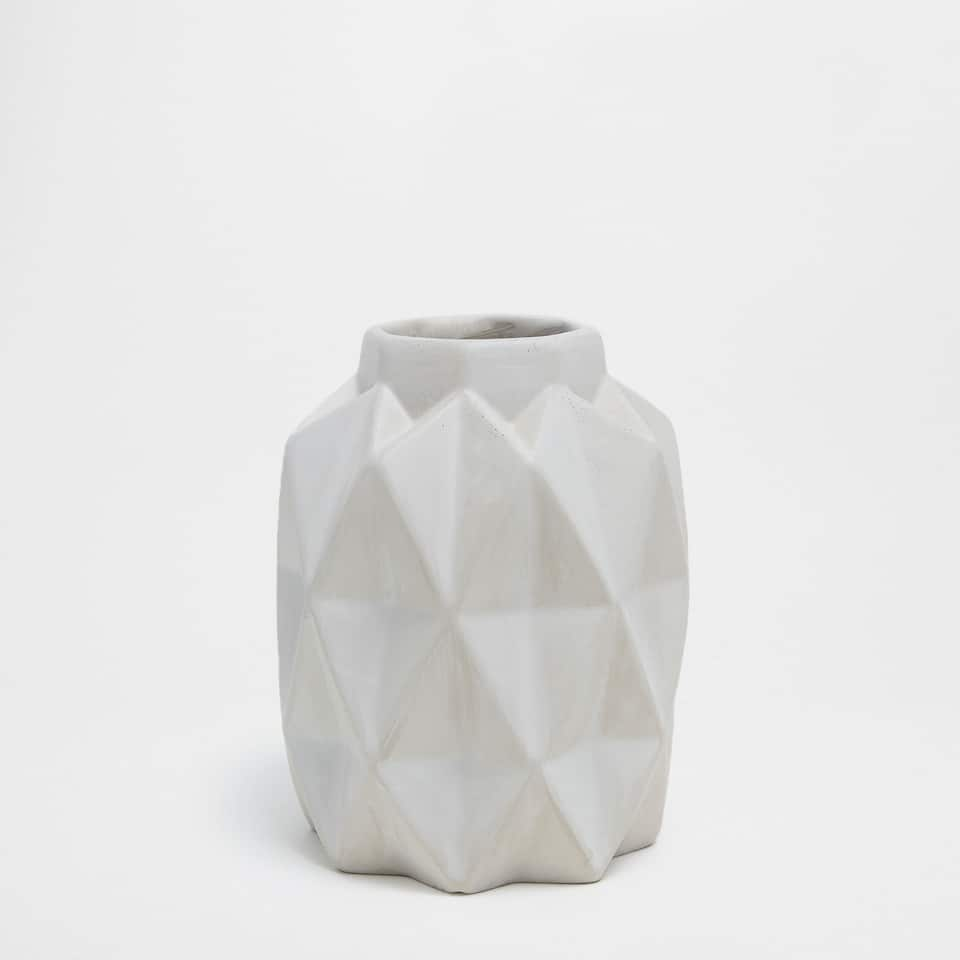 GREY CEMENT VASE WITH GEOMETRIC SHAPES