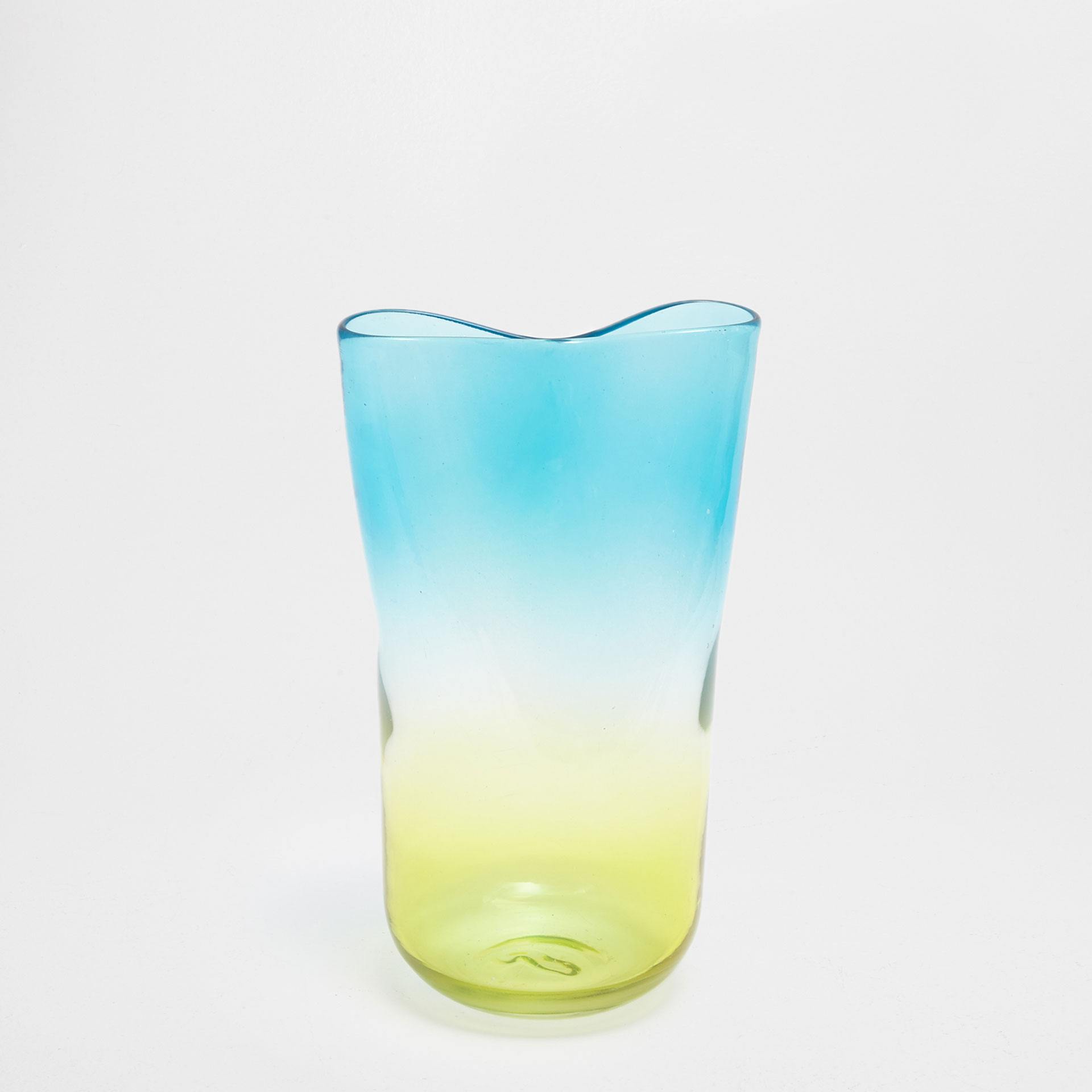 BLUE AND YELLOW OMBRÉ GLASS VASE
