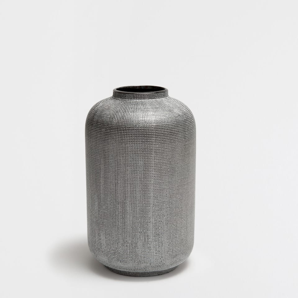 スチールグレー縞筋柄セラミック花瓶