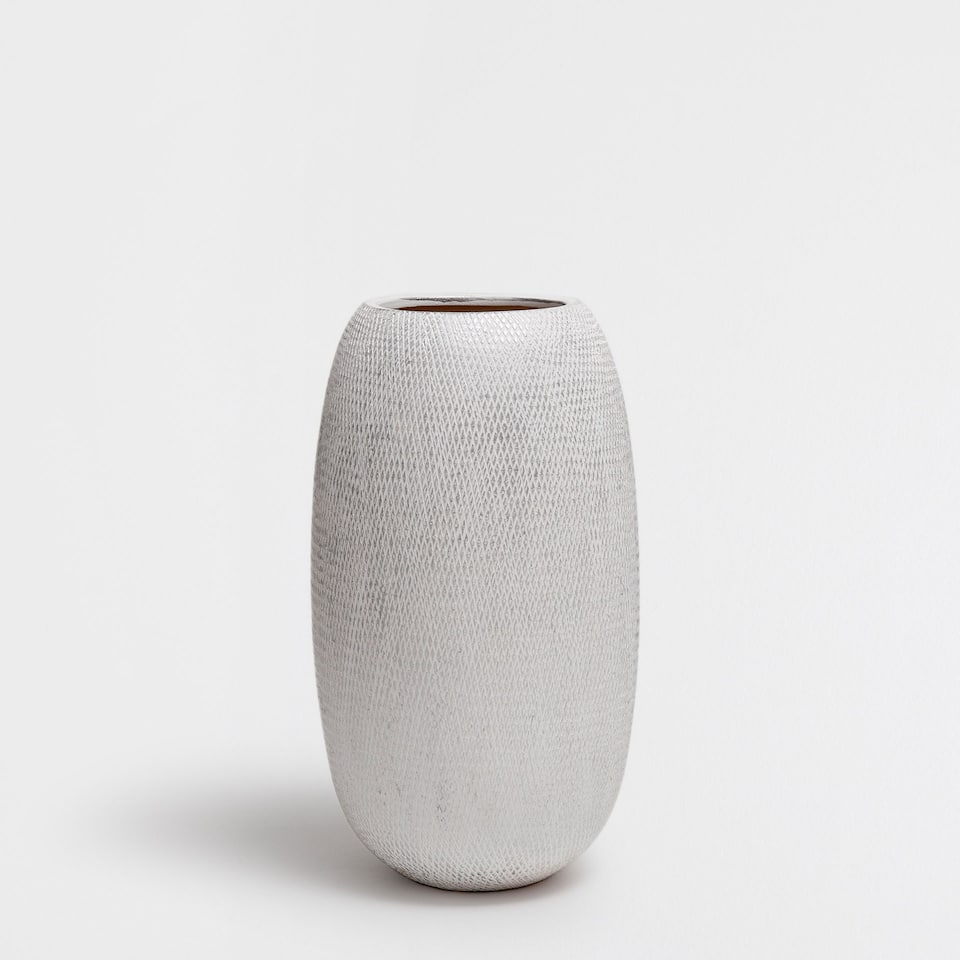 TERRACOTTA VASE WITH SILVER STRIPES