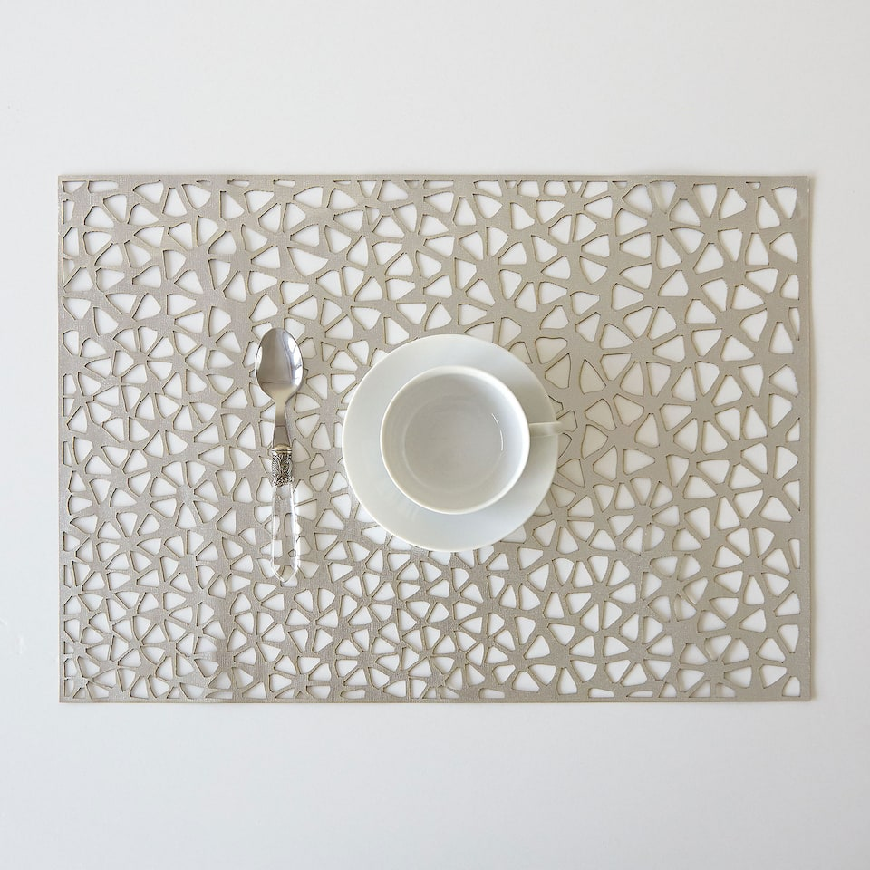 Silver rectangular perforated placemat