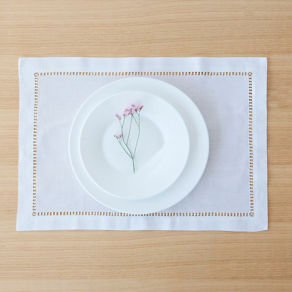 Placemat with hemstitching