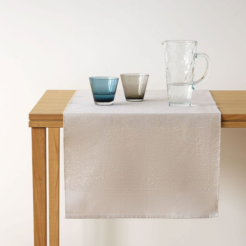 Beige cotton table runner with shimmer thread