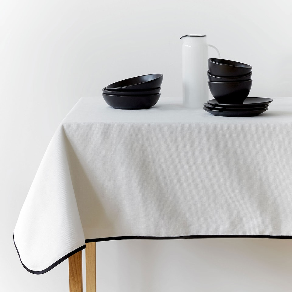 Linen and cotton tablecloth with a black stripe