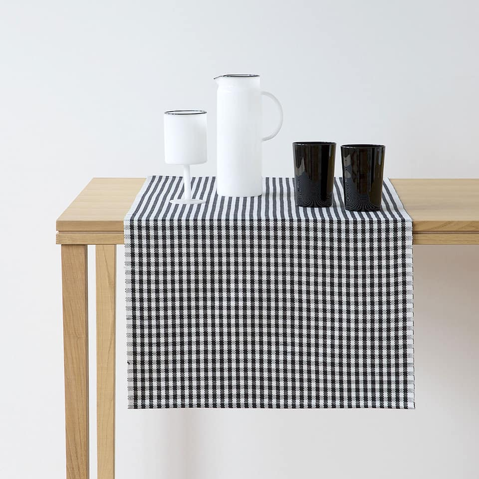 Black and white tiny check cotton table runner