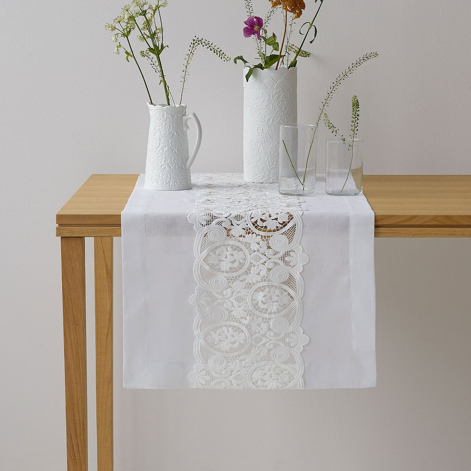 Embroidered lace table runner