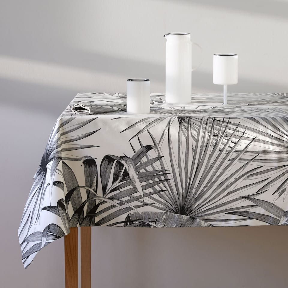 Black palm trees printed cotton tablecloth