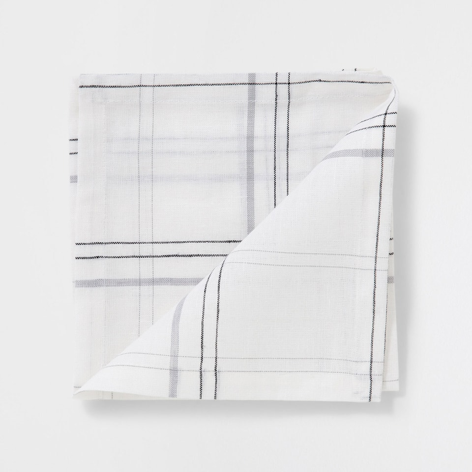 Checked linen and cotton napkins (set of 4)