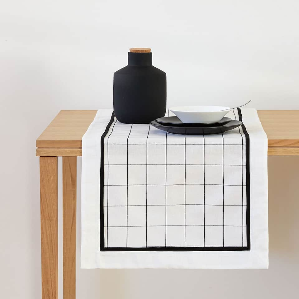 Black checked table runner