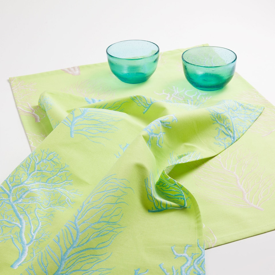 Coral tea towels with a lime background (set of 2)