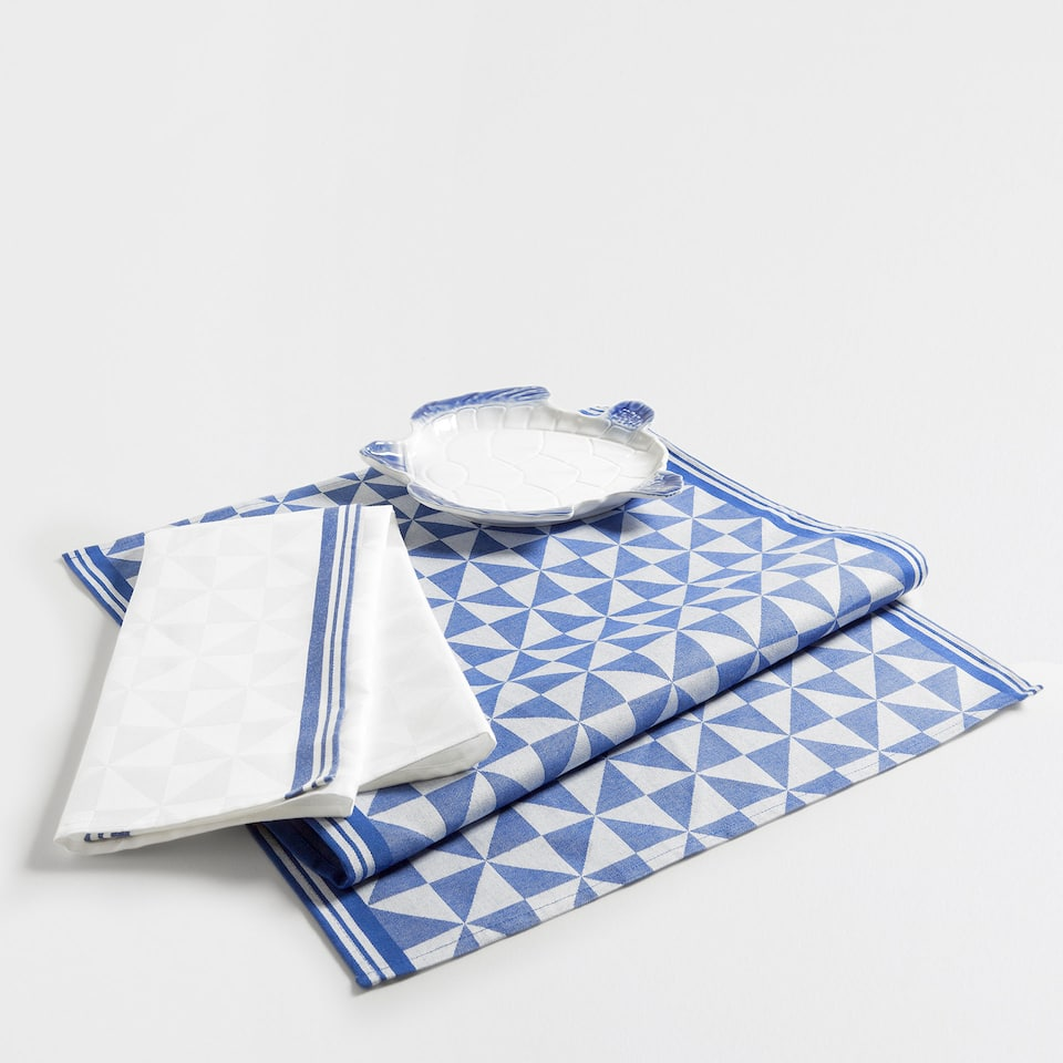 Blue triangle print jacquard tea towel (set of 2)