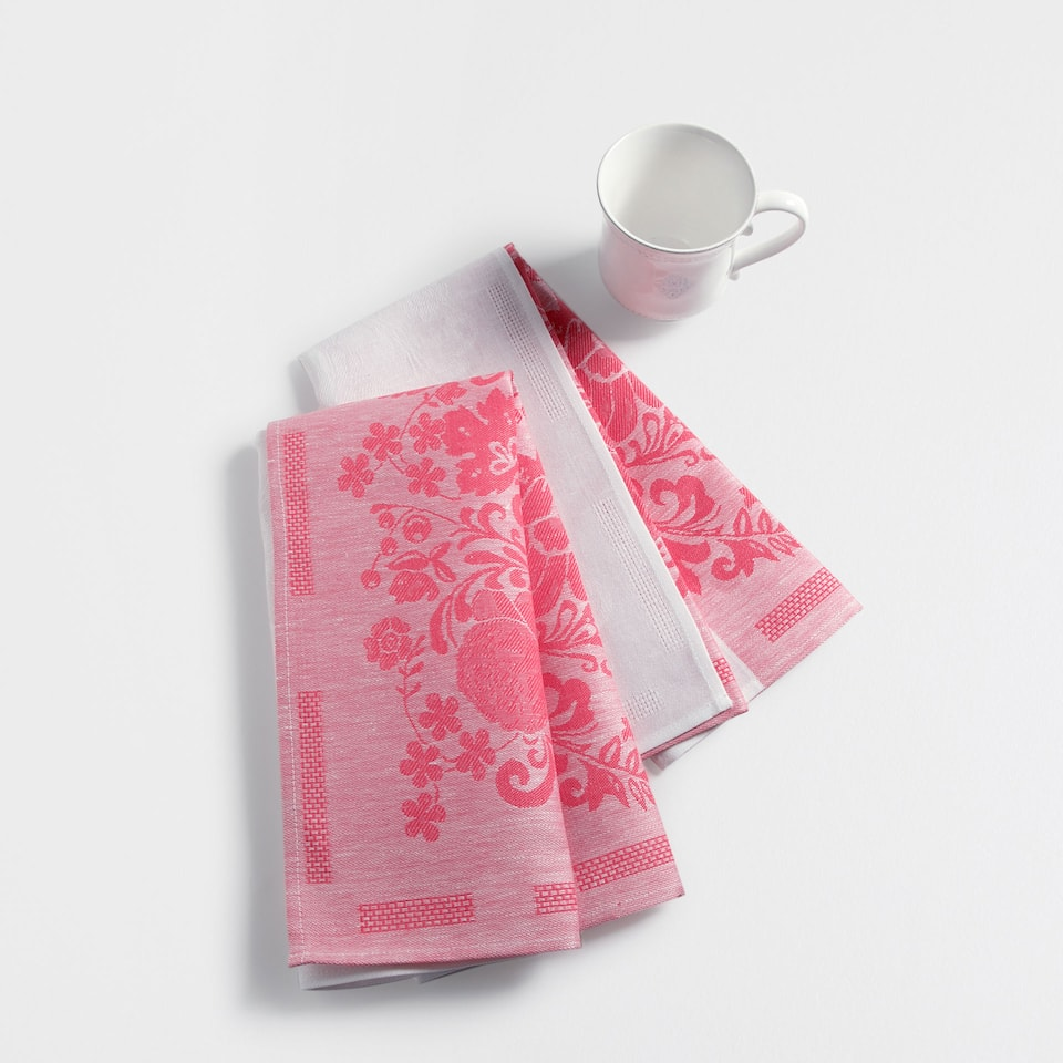 White and coral cotton and linen tea towel (set of two)