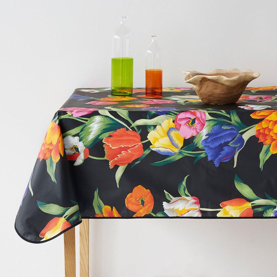 Tulip print laminated tablecloth