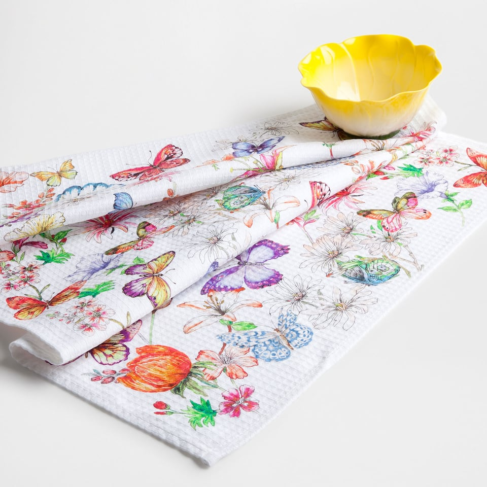 Floral and butterfly print tea towel