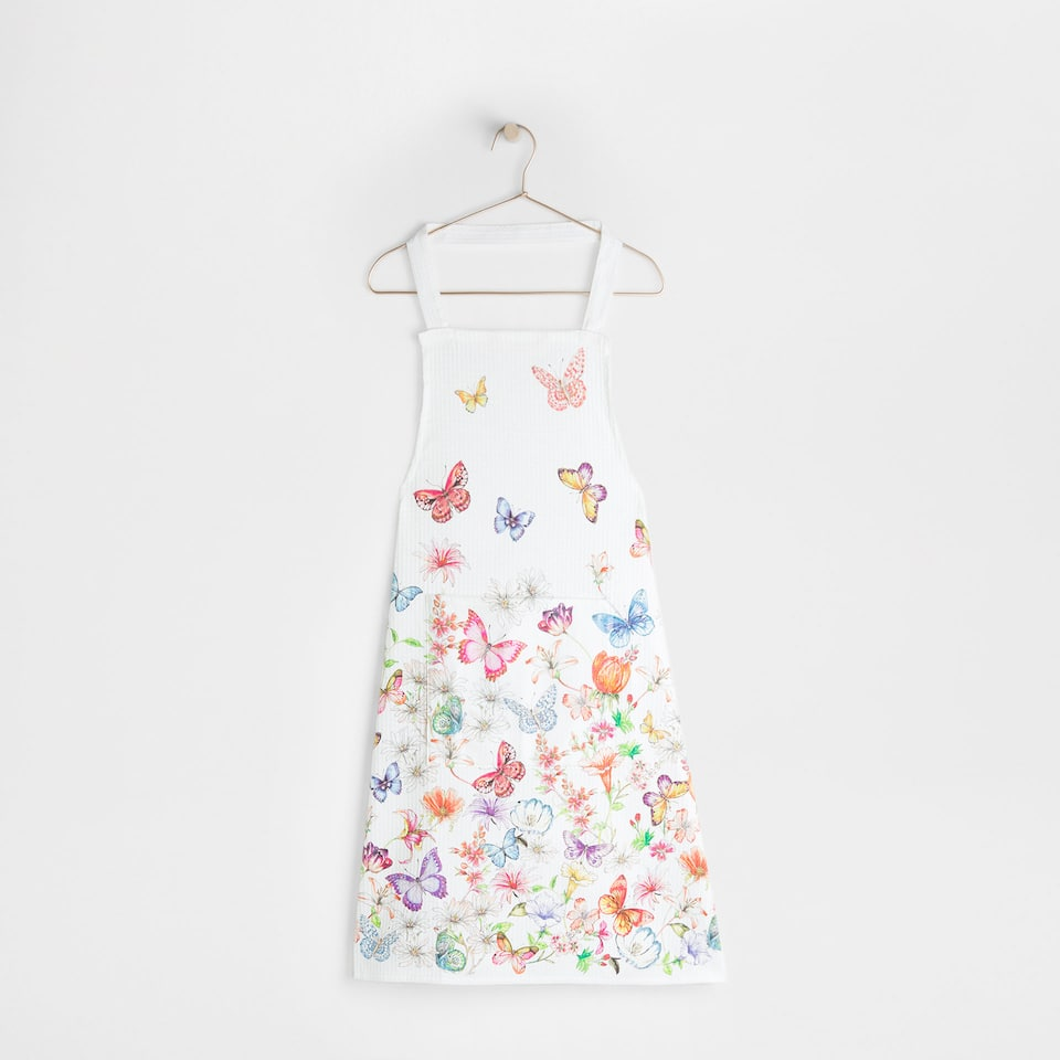 Butterflies and flowers print full-length apron