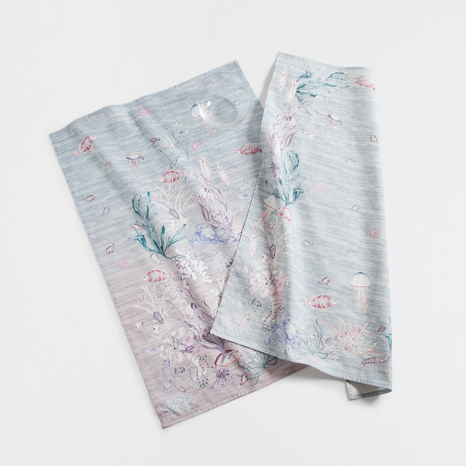 Lilac sea print tea towel (set of 2)