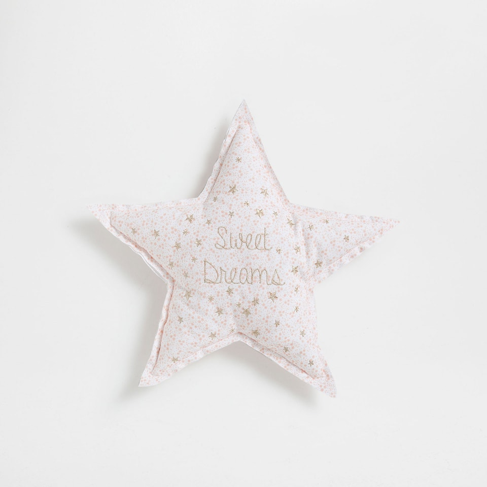 Star-shaped cushion with metallic embroidery