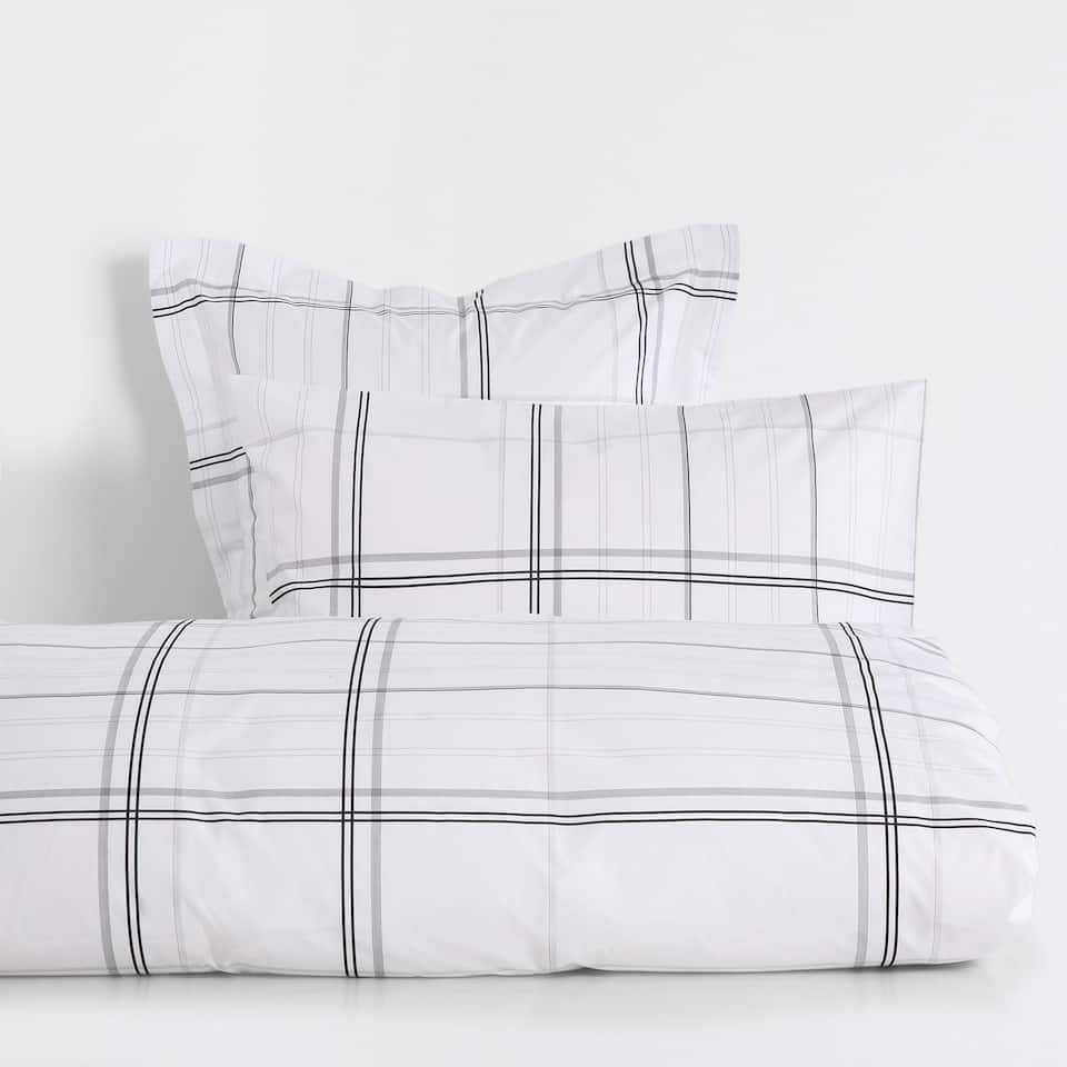 Checked Print Percale Cotton Duvet Cover