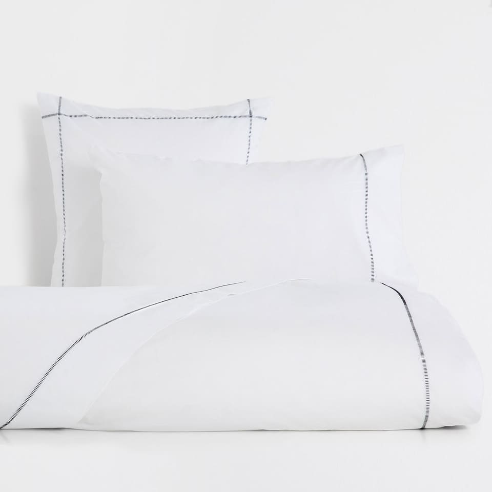 Contrasting Topstitching Cotton Duvet Cover