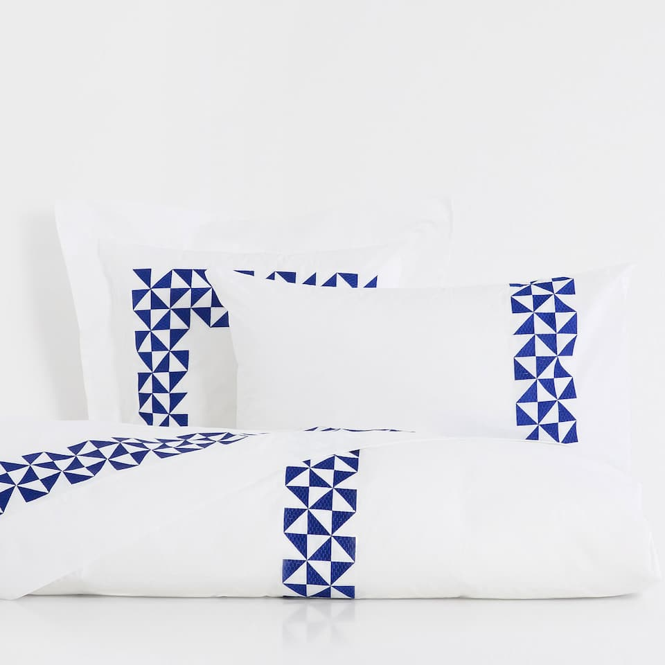 Geometric Embroidered Percale Cotton Duvet Cover