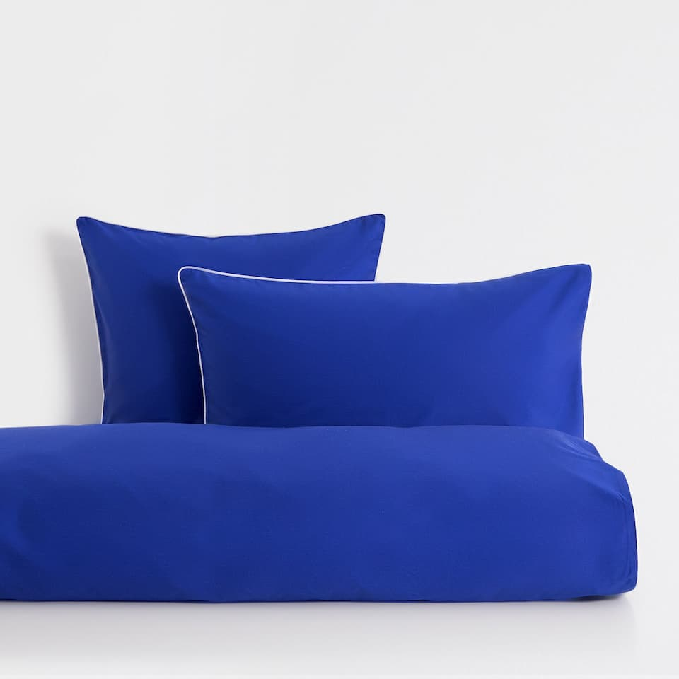 Blue Satin Duvet Cover with Contrast Piping